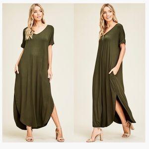 Dresses & Skirts - ROMY LONG MAXI DRESS LOOSE POCKETS OLIVE GREEN